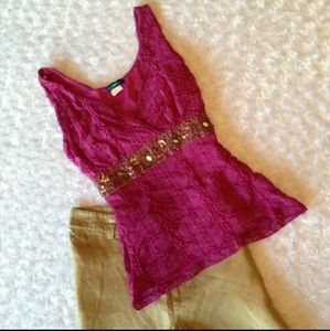 Tops - 💗💗Gold Sequin Stretchy Top 💗💗